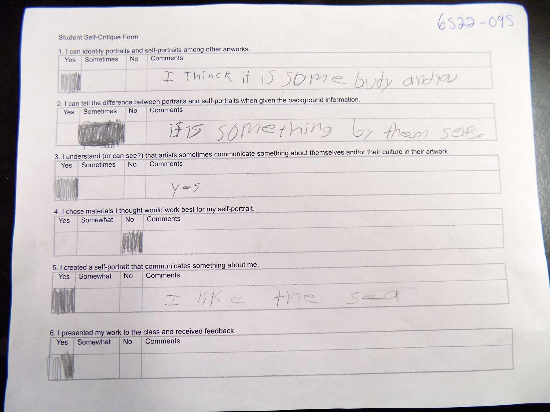 self critique assignment Middle ages writing assignment : op art self-assessment sheet: student and class critique : curriculum.