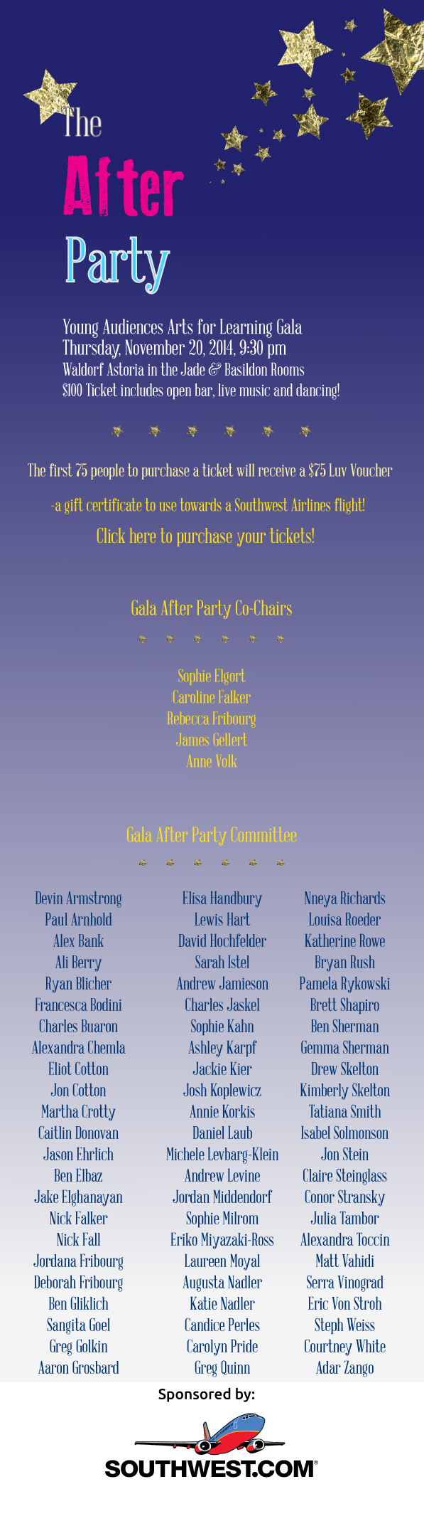 Young Audiences Gala After Party! Get your LUV Vouchers today!